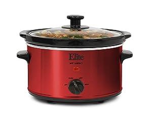 Elite Cuisine MST-275XR Electric Slow Cooker, Adjustable Temp, Entrees, Sauces, Stews and Dips, Dishwasher-Safe Glass Lid &Ceraic Pot, 2Qt Capacity, Metallic Red