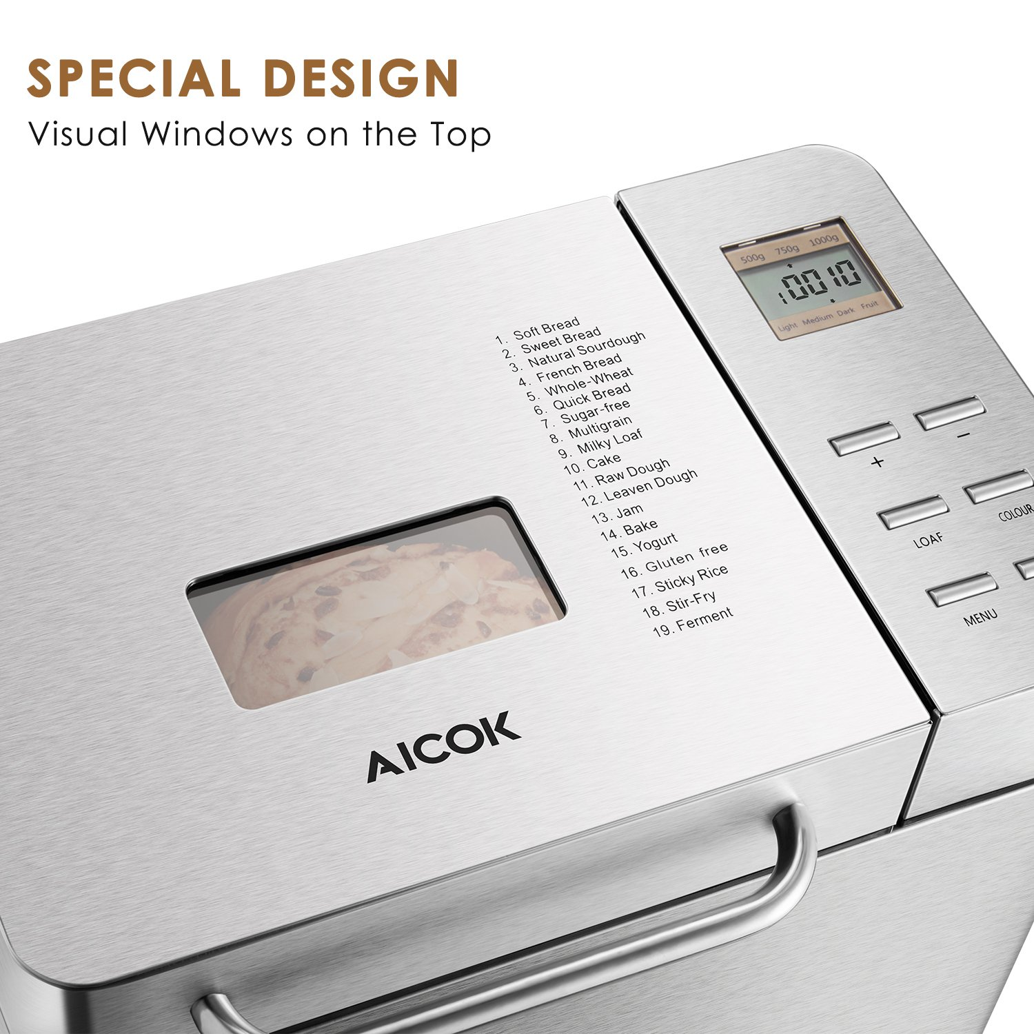 Automatic Bread Maker[2018 Upgraded], Aicok 2.2LB Fully Stainless Steel Bread Machine with Dispenser(19 Programs, 3 Loaf Sizes, 3 Crust Colors, ...
