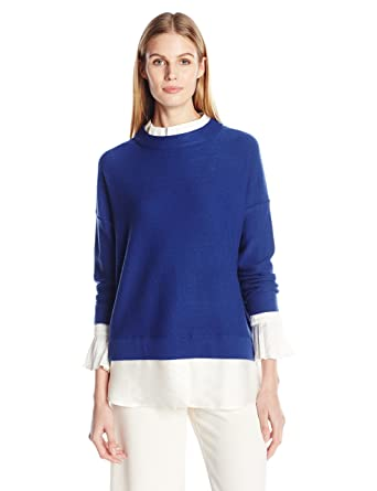 Amazon Com Tracy Reese Women S Combo Mock Blouse Clothing