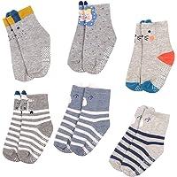 Baby Socks Non Slip 6 Pairs, Ultra-Soft Cotton Toddler Crew Socks For 12-36 Months Boys Girls Kids Infant Ankle Socks…