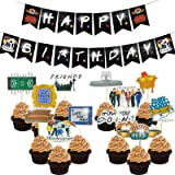Friends Party Decorations Birthday Banner and Cupcake Topper Friends Theme Happy Birthday Party Supplies for Friends Fans The