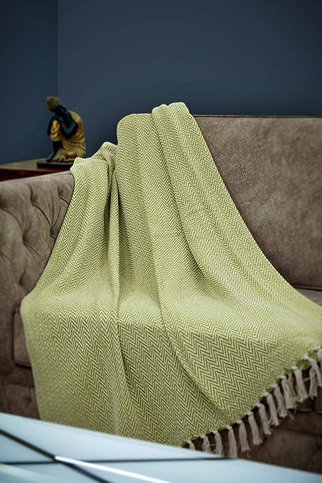 Crafkart Manta Verde – Manta de algodón con Estampado de chevrón con Flecos para Silla, sofá, Picnic, Camping, Playa, Uso Diario: Amazon.es: Hogar