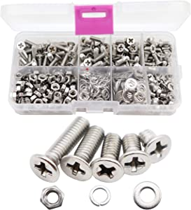 binifiMux 550pcs M4 Phillips Flat Head Countersunk Machine Screws Bolts Nuts Washers Assortment Kit, 304 Stainless Steel, M4 x 6mm/ 8mm/ 10mm/ 12mm/ 16mm