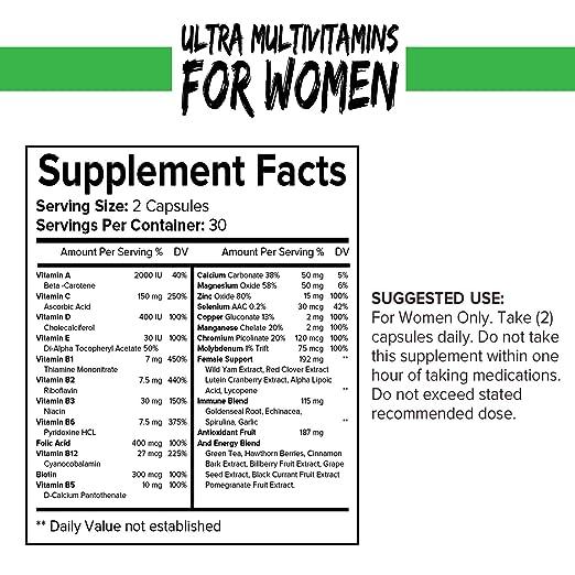 Multivitamínico para Mujeres - Vitaminas, Antioxidantes y Minerales Esenciales con Betacaroteno e Isoflavonas de Ñame Silvestre para Mejorar Salud General ...