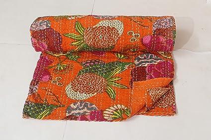 Amazon Com Bhawana Handicrafts Orange Queen Size Indian Cotton