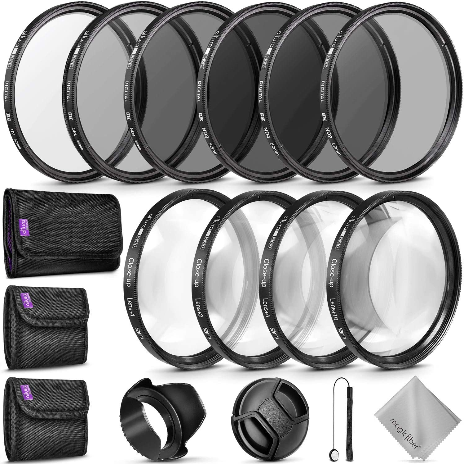 Amazon Com 52mm Complete Lens Filter Accessory Kit For Nikon D3300 D3200 D3100 D3000 D5300 D5200 D5100 D5000 D7000 D7100 Dslr Camera Camera Photo