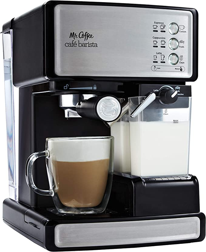 Amazon.com: Mr. Coffee Espresso and Cappuccino Maker | Café Barista, Silver: Semi Automatic Pump Espresso Machines: Kitchen & Dining