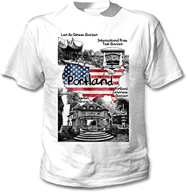 teesquare1st Portland USA Camiseta Blanca para Hombre de Algodon: Amazon.es: Ropa y accesorios