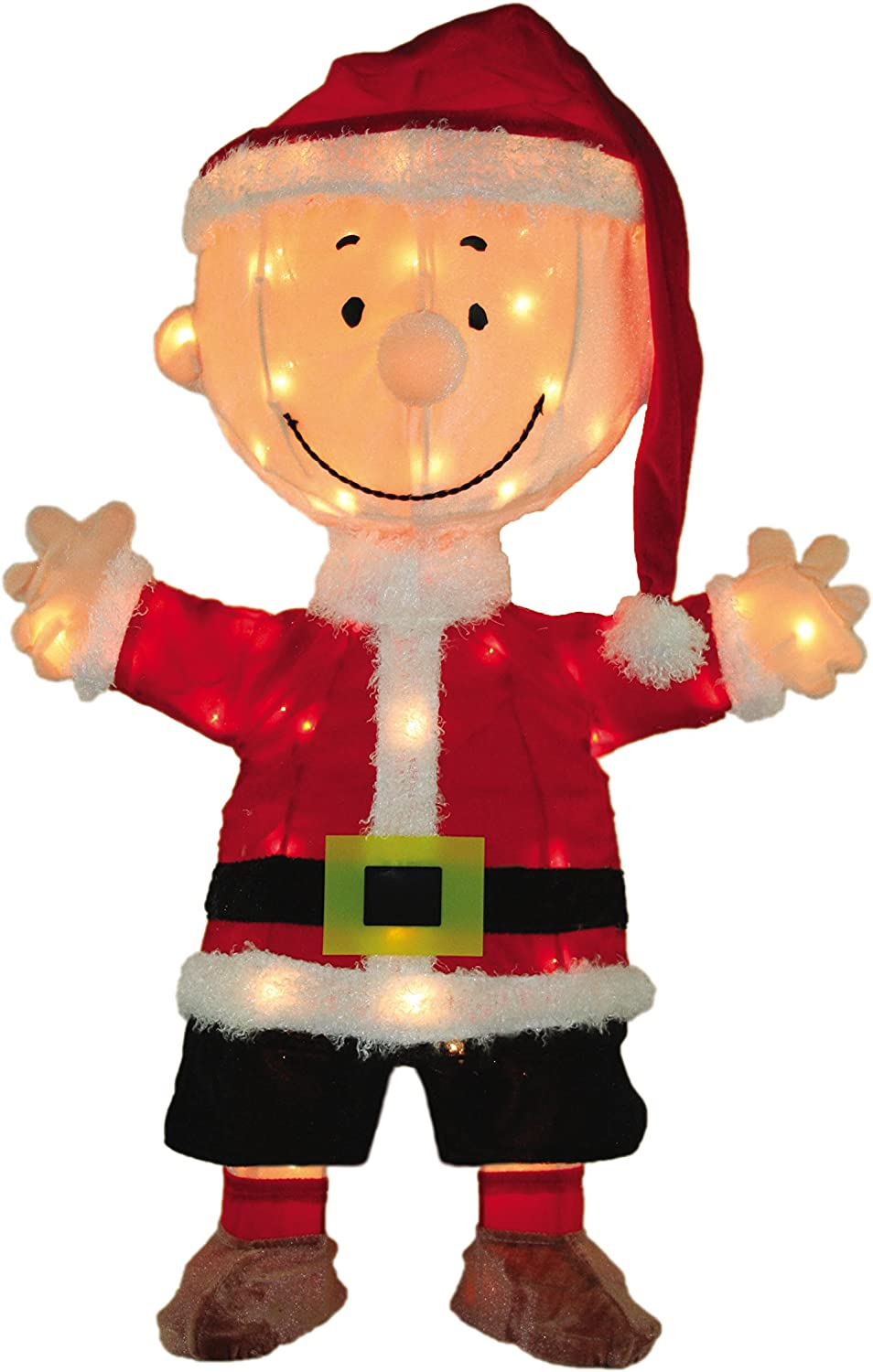 Product Works 32-Inch Pre-Lit 3D Peanuts Santa Charlie Brown Christmas Yard Decoration, 80 Lights