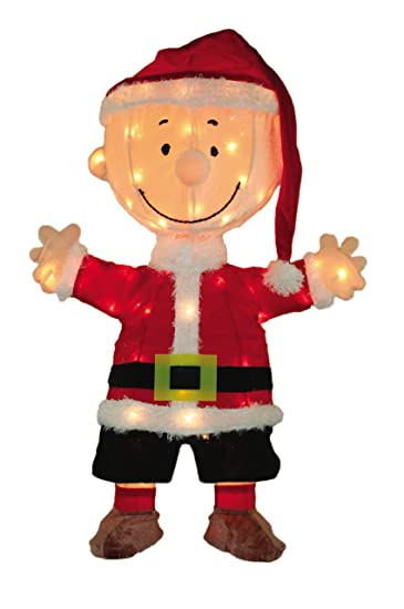 product works 32 inch pre lit 3d peanuts santa charlie brown christmas yard decoration