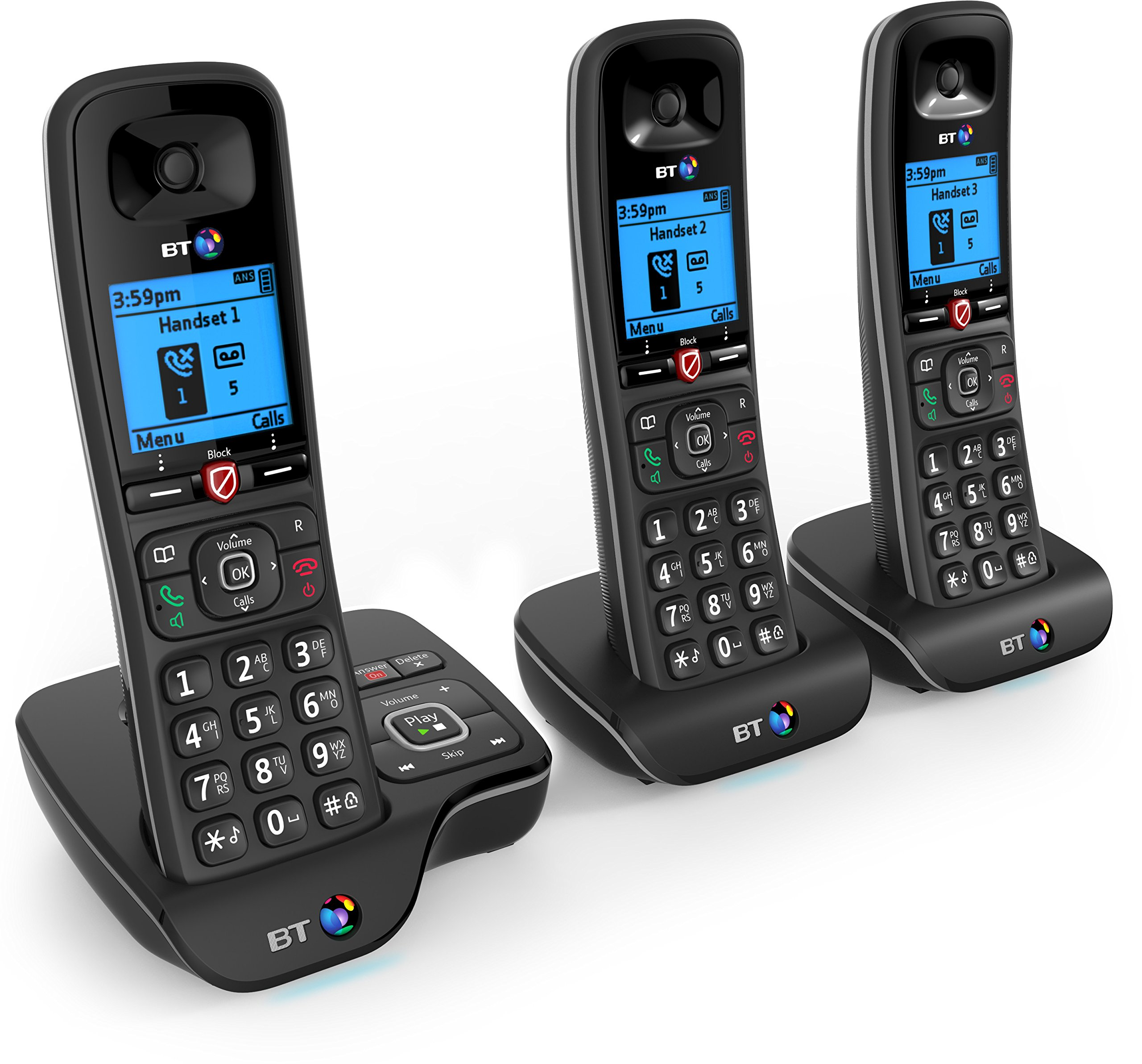 bt 6600 trio digital cordless phone with answer machine. Black Bedroom Furniture Sets. Home Design Ideas