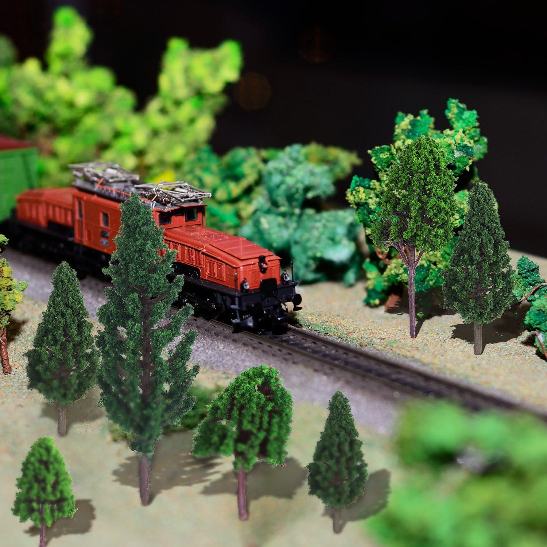 10 Stücke Kunststoff Modell Bäume Zug Eisenbahn Landschaft 1:75 B120 D006