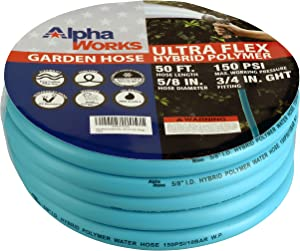 """AlphaWorks Garden Water Hose 5/8"""" Inch x 50' Feet Heavy Duty Premium Commercial Ultra Flex Hybrid Polymer Hose Max Pressure 150 PSI/10 BAR with 3/4"""" GHT Fittings"""