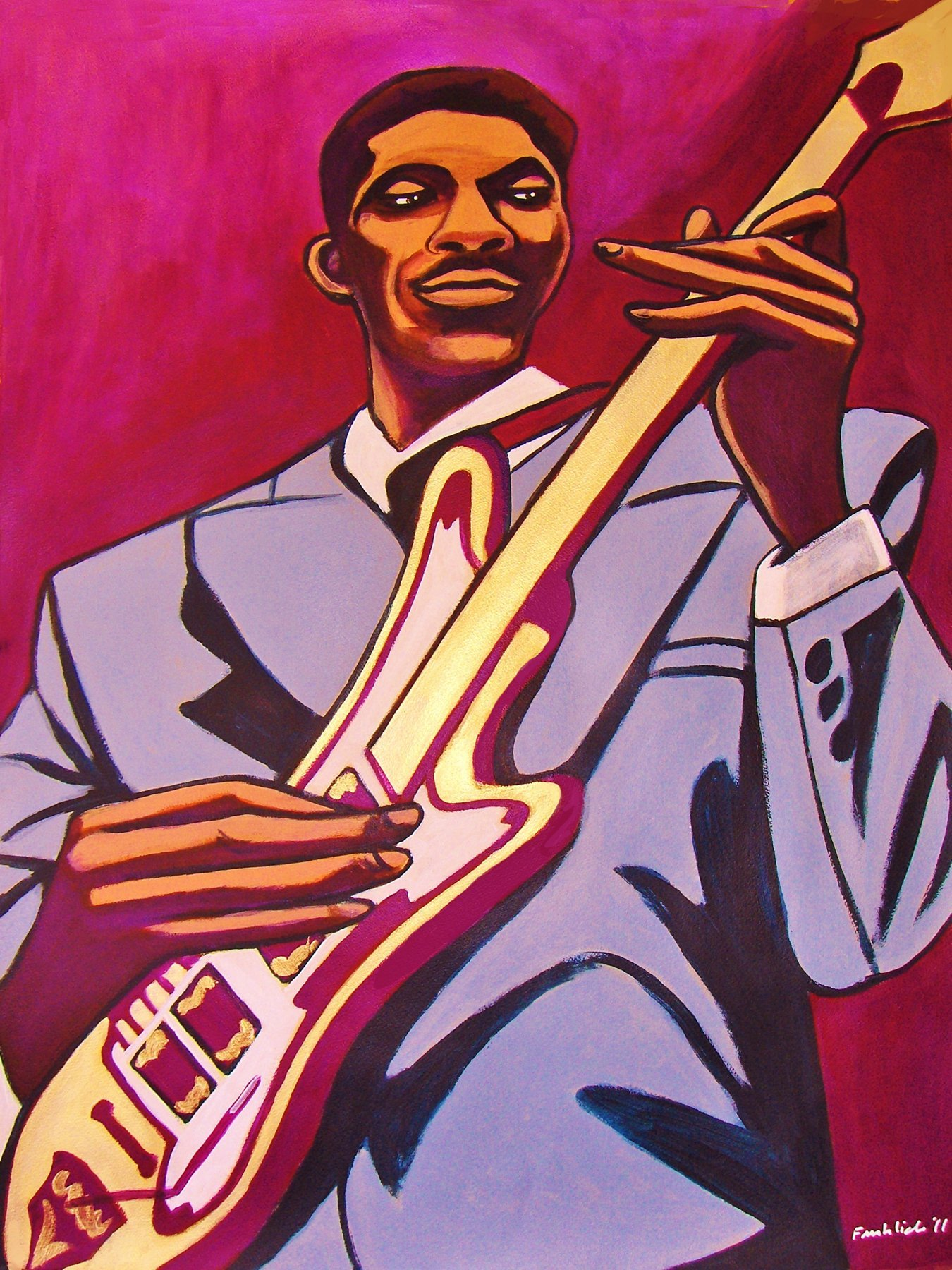HUBERT SUMLIN PRINT POSTER man cave guitar cd lp record album vinyl gibson les paul bartolini howlin wolf chess chicago about them shoes by FRO-ART