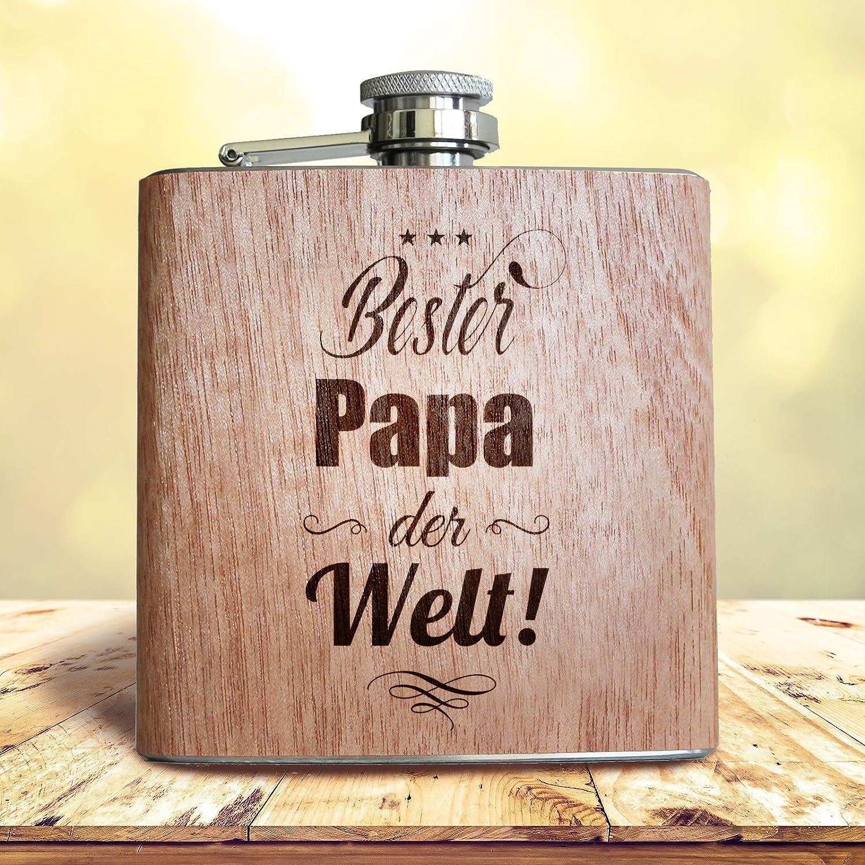 Bester Papa der Welt Schl/üsselanh/änger Flachmann mit Gravur als Geschenk zum Vatertag oder zu Weihnachten 30 ml aus Metall