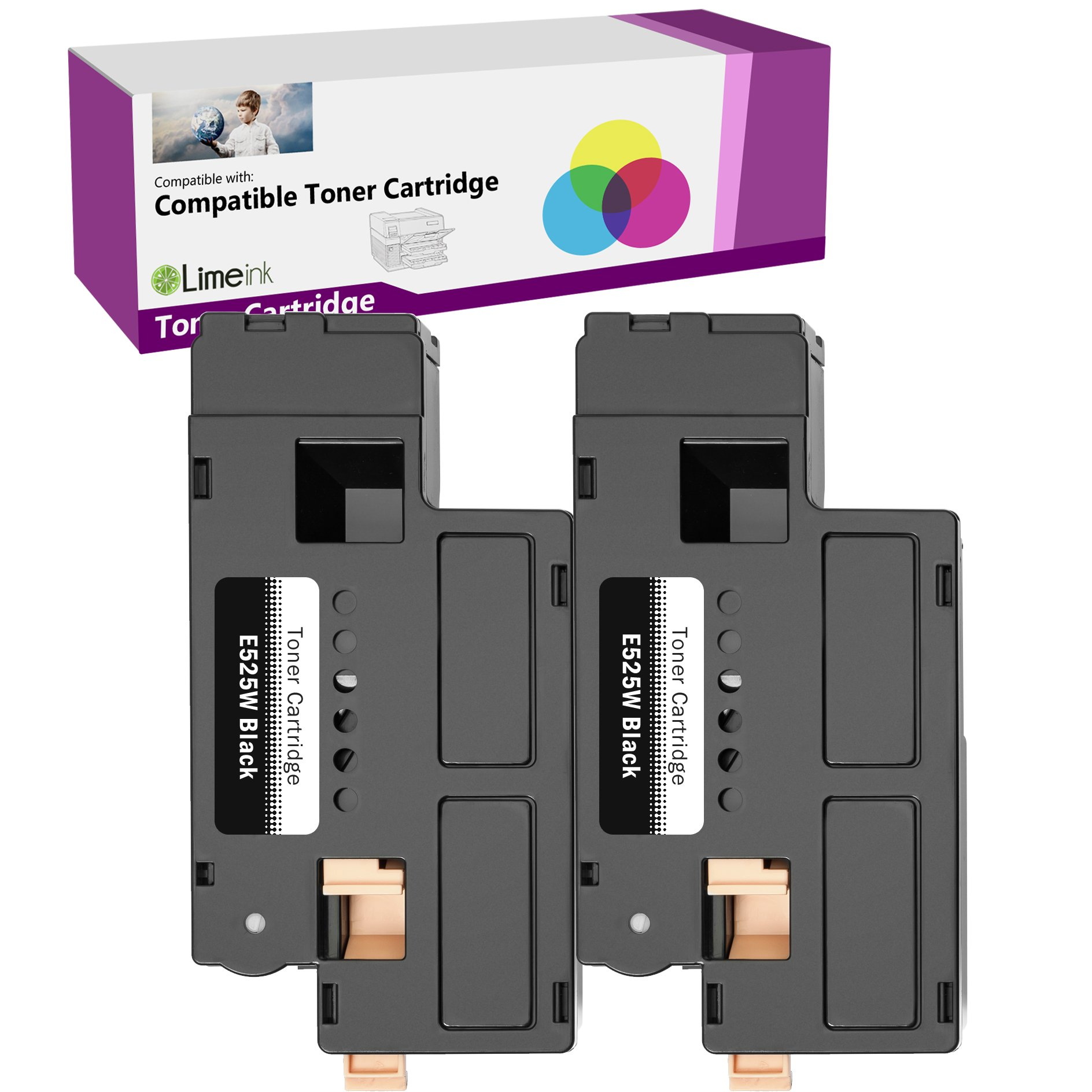 Limeink 2 Black Compatible High Yield Laser Toner Cartridges Replacement for E525W 525W E525 525 H3M8P DPV4T Compatible with E525W, E525DW Color Laser Printers Ink