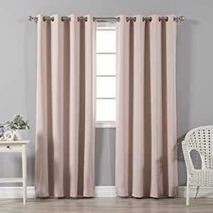 "Best Home Fashion Thermal Insulated Blackout Curtains - Antique Bronze Grommet Top - Dusty Pink - 52"" W x 84"" L - (Set of 2 Panels)"