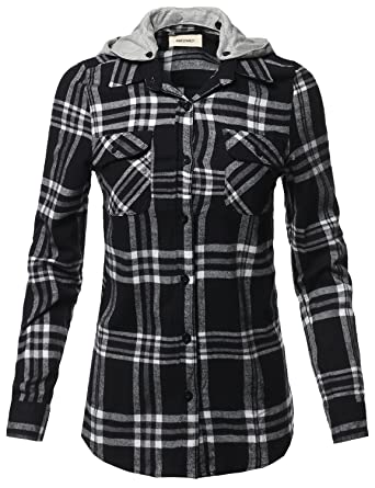 2018 Summer New Women Casual Loose Slim Color Hooded Plaid Shirt Women's Clothing