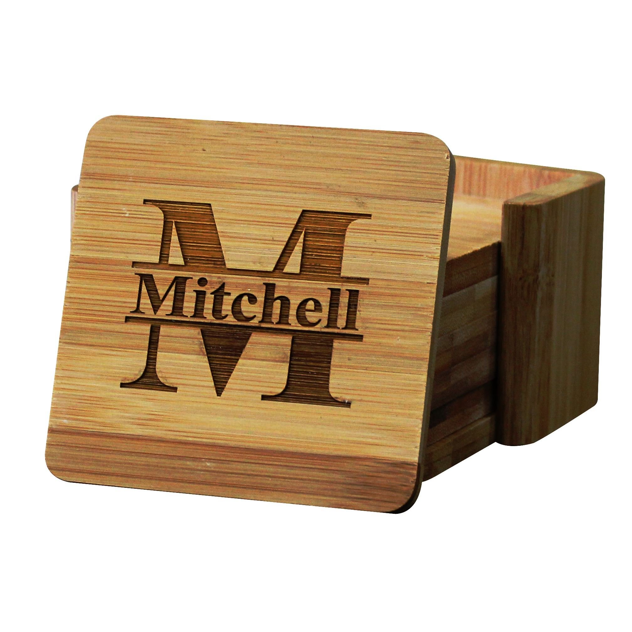 Personalized Coasters - Bamboo Coasters for Drinks with Holders - Square 7 Piece Set by My Personal Memories