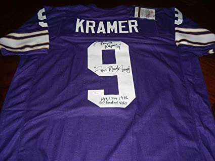 9c1e45cf26a Image Unavailable. Image not available for. Color  Tommy Kramer Signed  Jersey - Two Minute coa - JSA Certified - Autographed NFL Jerseys
