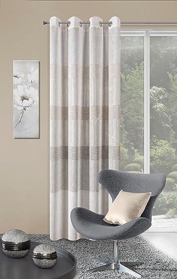 Vorhang Ösenvorhang 140x250 Cm Gestreift Erli Creme Braun Wohnzimmer Küche  Streifen Lichtundurchlässigkeit: Ungf. 30