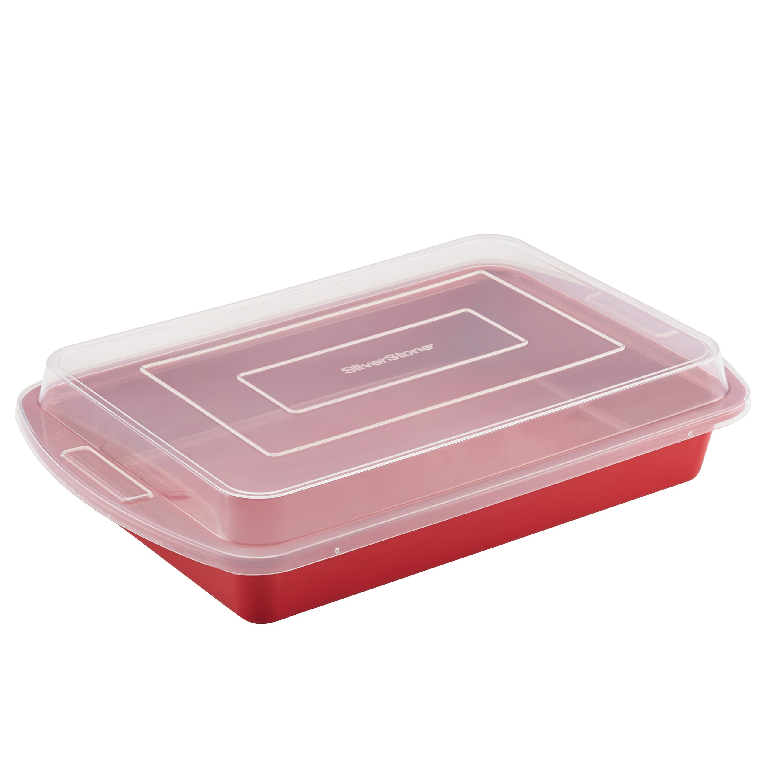 SilverStone Hybrid Ceramic Nonstick Bakeware Covered Cake Pan, 9-Inch x 13-Inch, Chili Red