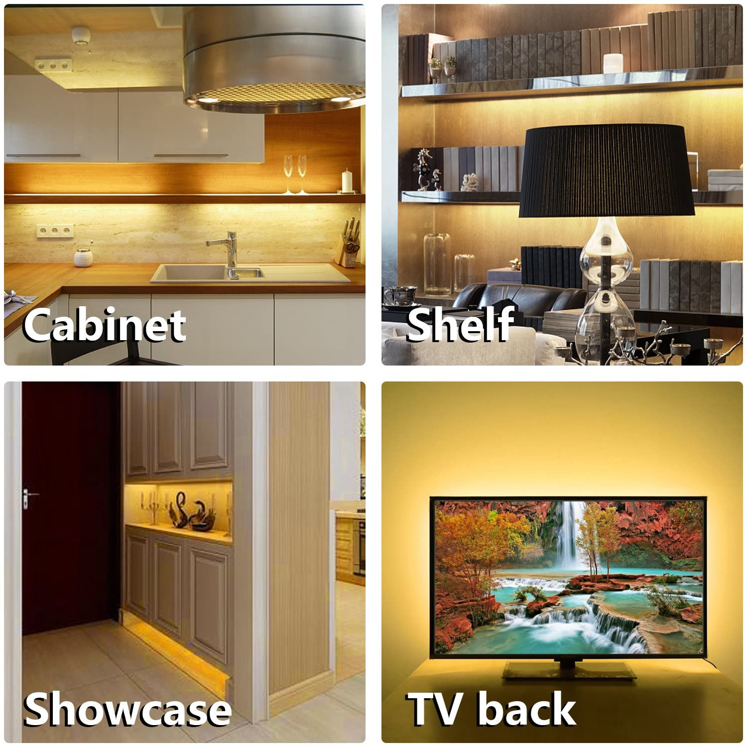 Dimmable for Kitchen Cabinet,Counter,Shelf,TV Back,Showcase 2700K Warm White Timing Bright Under Cabinet LED Lighting kit 6 PCS LED Strip Lights with Remote Control Dimmer and Adapter