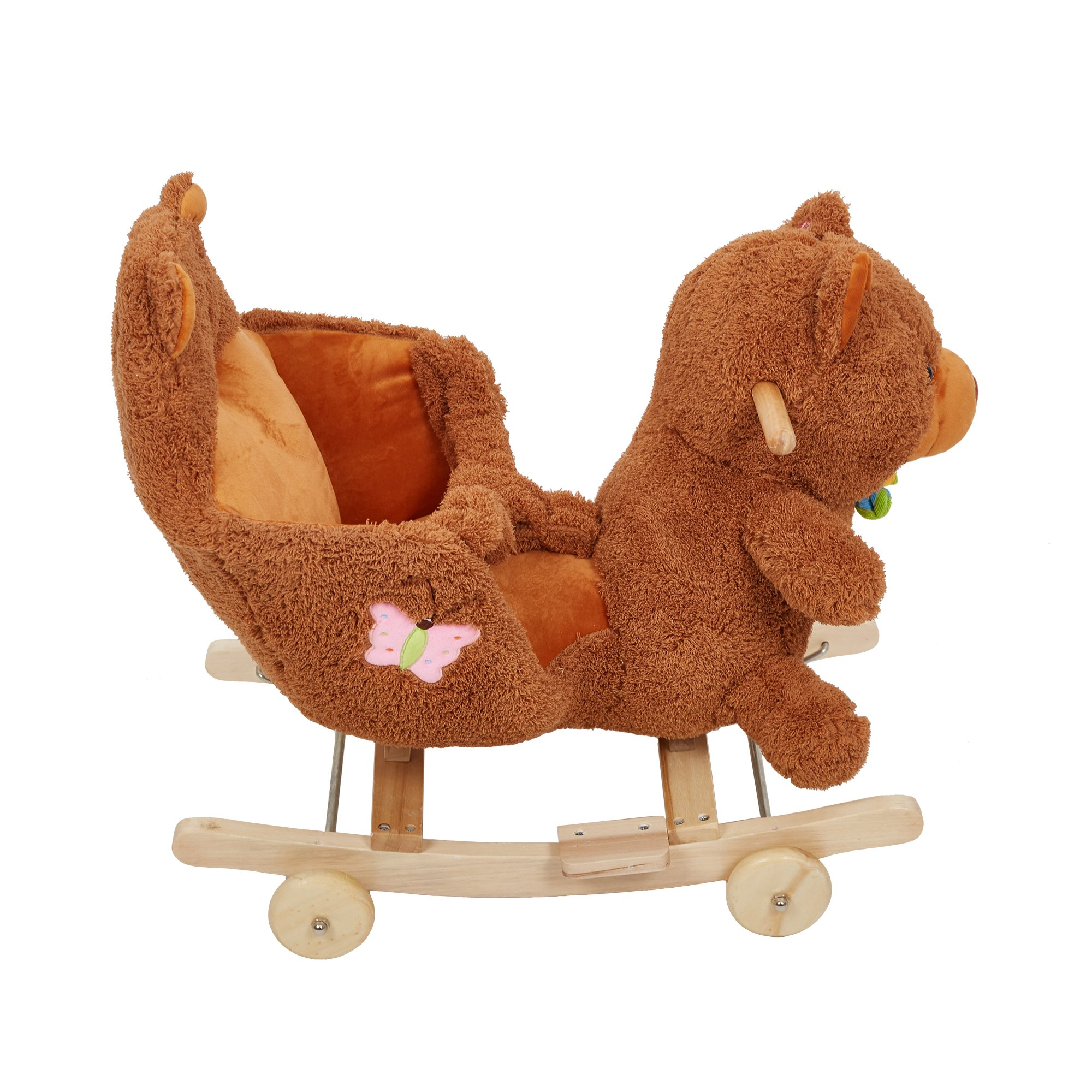 Lucky Tree Rocking Horse Wooden Riding Toys Plush Brown Bear Ride on Toy with Wheels for kids 18 Months-4 Years,Bear by Lucky Tree (Image #4)