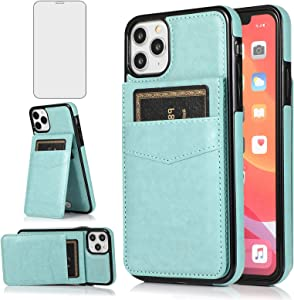 Asuwish Phone Case for iPhone 11 Pro Max 6.5 with Tempered Glass Screen Protector Credit Card Holder Wallet Cover Stand Leather Cell Accessories iPhone11 11pro Promax i XI Plus Cases Women Men Green