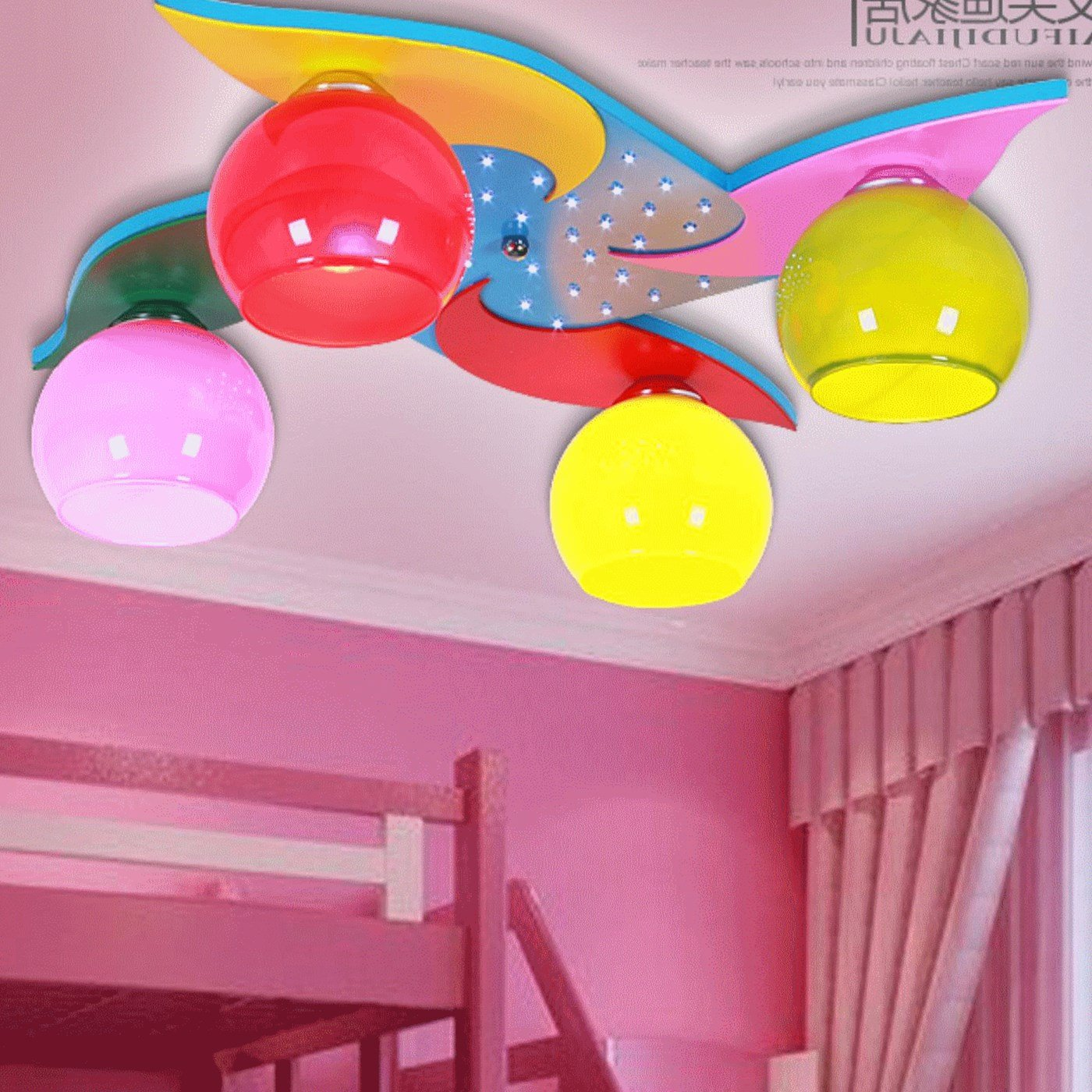 BGmdjcf Kindergarten children LED decoration light ceiling light 4 windmill cartoon lamps men and women baby bedroom lighting , plus remote control