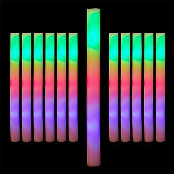 relaxdays Set de 12 Palos Led, Barra Luz Varita Luminosa, 3 Modos, A Pilas, Gomaespuma, 1 Ud, 47,5 x 4 cm, Blanco, color, 12er pack (10024361) , color/modelo surtido: Amazon.es: Juguetes y juegos