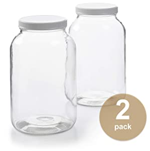 2 Pack - 1 Gallon Glass Jar w/Plastic Airtight Lid, Muslin Cloth, Rubber Band - Made in USA, Wide Mouth - BPA Free - Kombucha, Kimchi, Kefir, Canning, Sun Tea, Fermentation, Food Storage