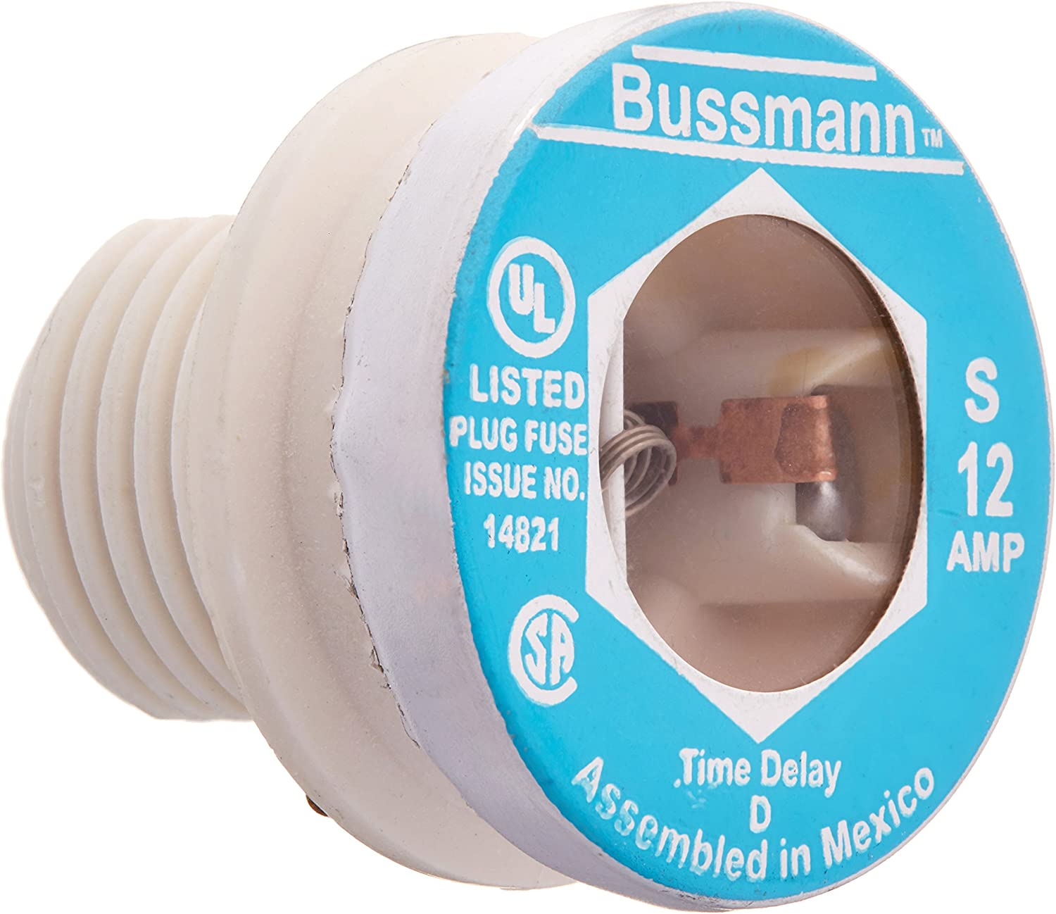 Bussmann T-25BC 25 Amp Type T Time-Delay Dual-Element Edison Base Plug Fuse 125V UL Listed 1-In Bag