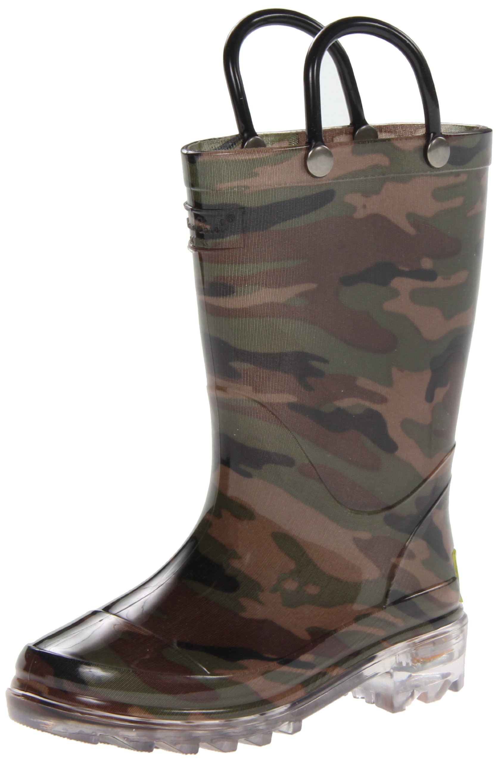 Western Chief Boys Waterproof Rain Boots that Light up with Each Step, Camo Green, 13 M US Little Kid