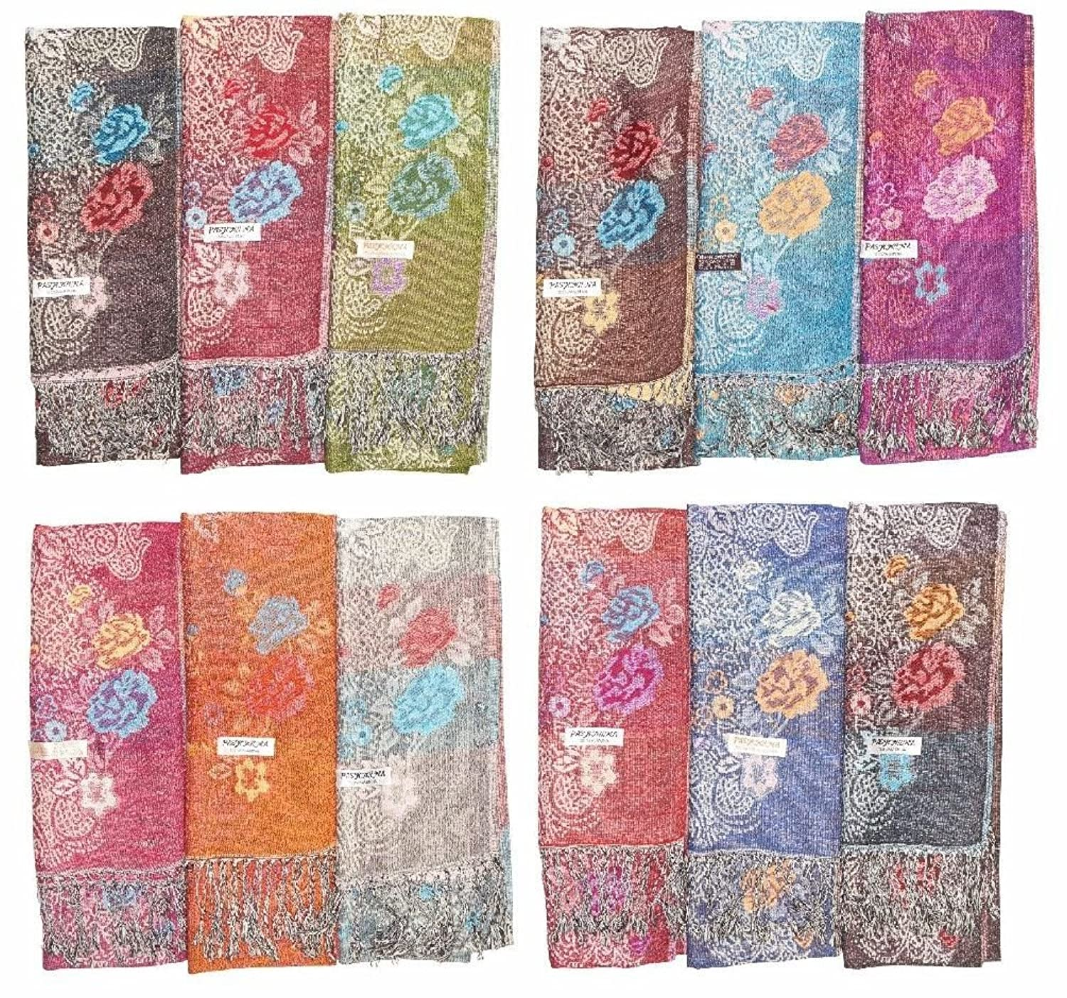 Lot Of 12 Soft Silk Women Cashmere Shawl Scarf Stole Wrap Wholesale