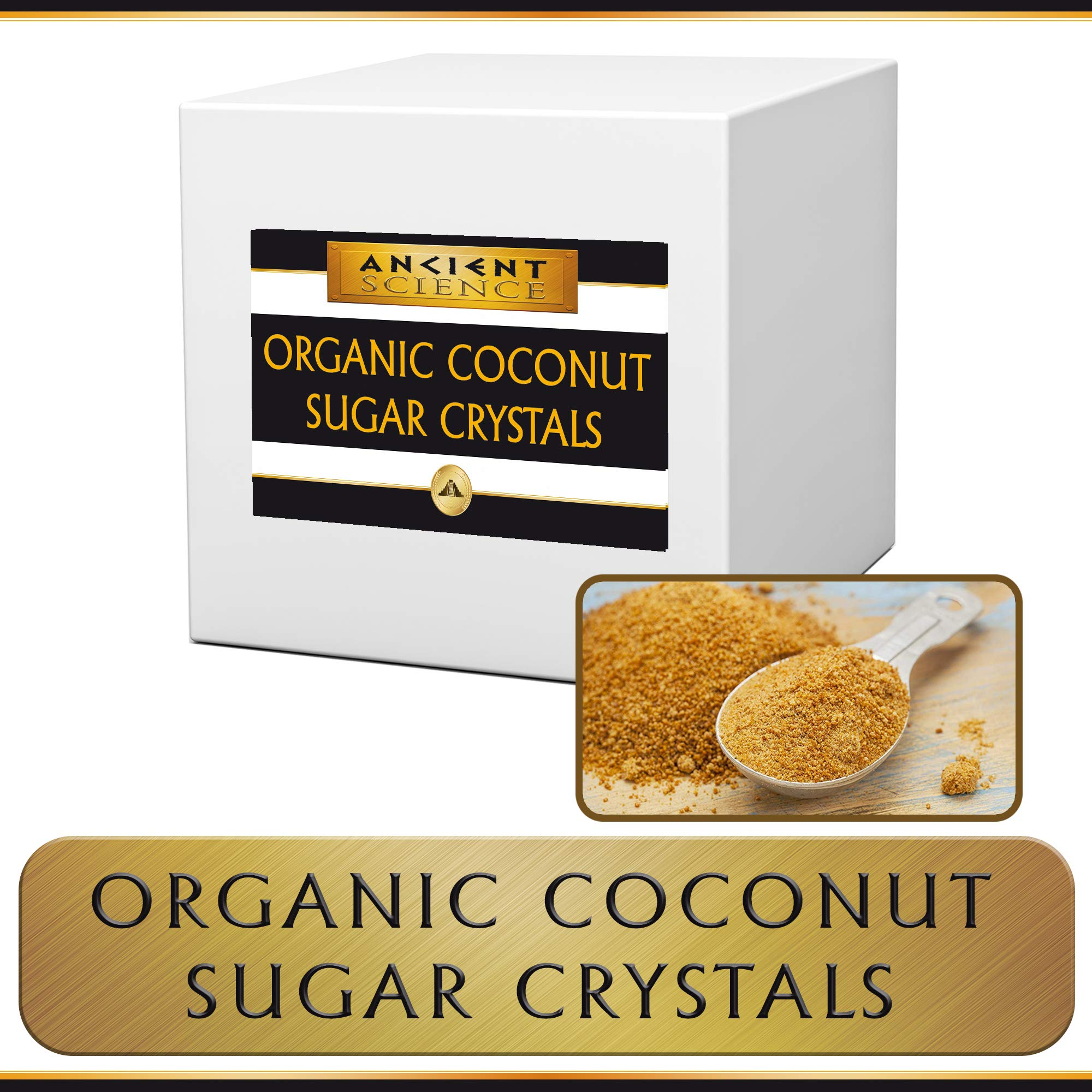 Organic Coconut Sugar Crystals BULK 5 LBS - WHOLESALE - Organic Kosher - LOW GLYCEMIC Sugar Replacement Sweetener by Ancient Science
