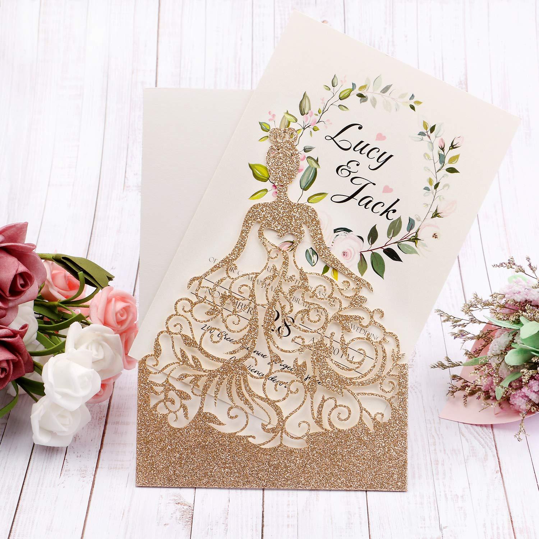 HIGHYI Wedding Invitation Card-Laser Cut Rose Gold Glitter Hollow Bride 25PCS Paper Card Set For Wedding Engagement Birthday Baby Shower Dinner (DIY Blank Inner Sheet) by HIGHYI (Image #7)