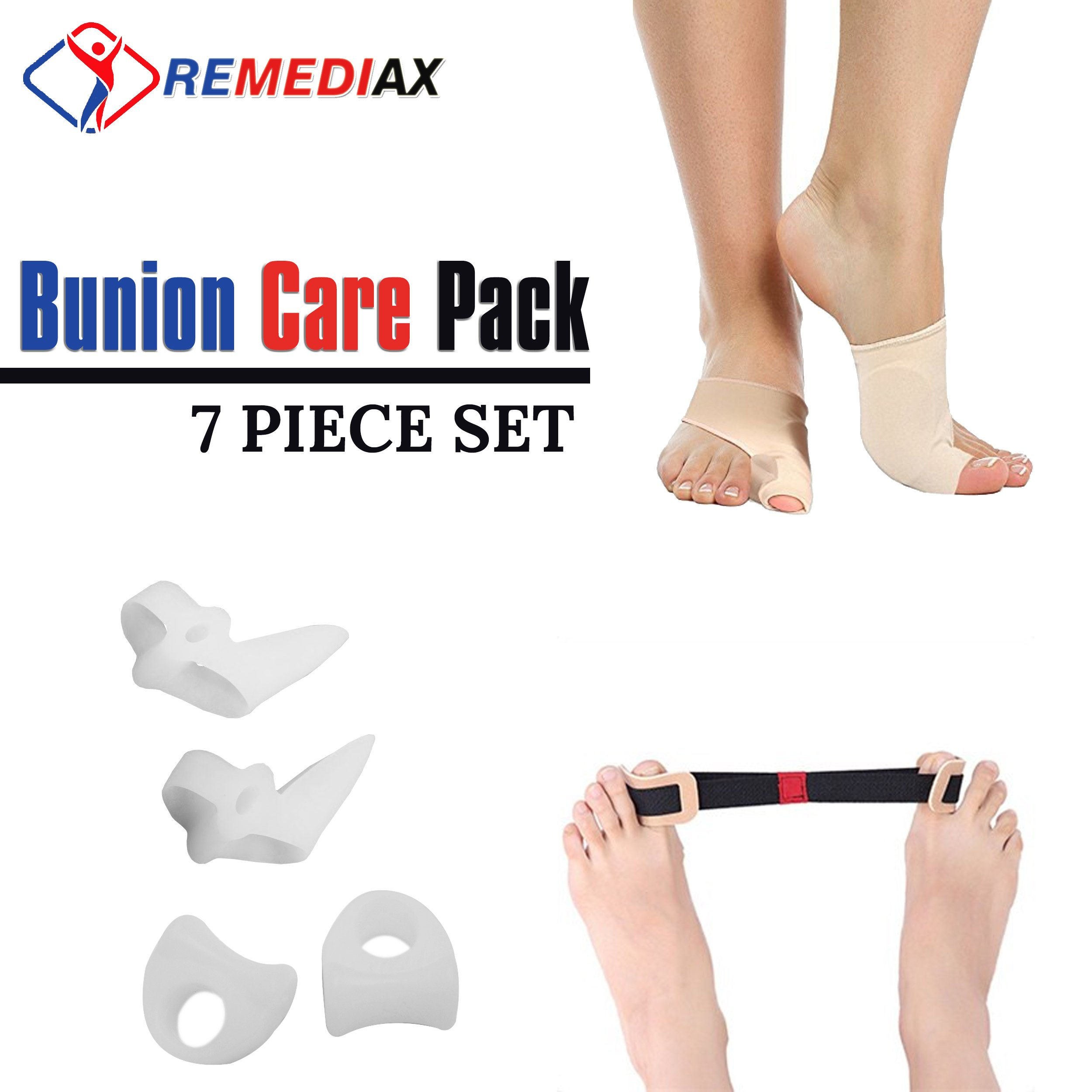 Remediax Bunion Corrector & Bunion Relief Protector Sleeves Kit - Foot Pain Relief, Big Toe Joint, Hammer Toe, Toe Separators Spacers Straighteners Splint Aid Surgery Treatment, Cushioned Sleeve