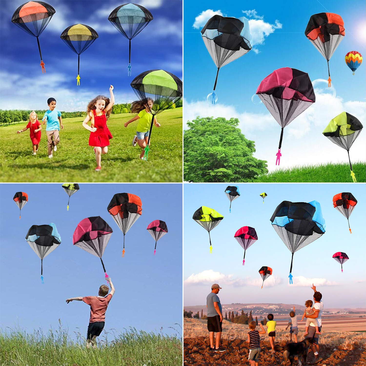 Camlinbo Parachute Toy-8 Pack Tangle Free Throwing Hand Throw Soldiers Parachute Man, Outdoor Children's Flying Toys for Kids Boys Girls Toddler No Battery nor Assembly Required by Camlinbo (Image #4)