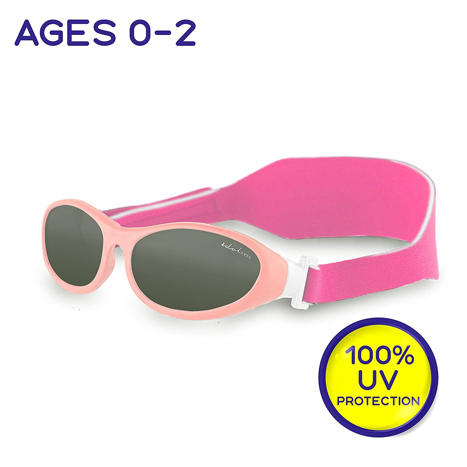 "ddf09d52a2 Amazon.com  Idol Eyes Kids Sunglasses for Kids – ""Baby Wrapz"" Baby  Sunglasses with Strap for Ages 0-2 with 100% UV Protection + Adjustable Baby  Sunglasses ..."