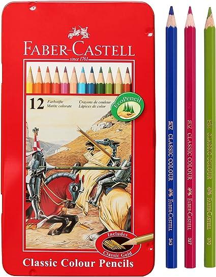 Faber Castell – Estuche de lápices de color estaño 12 lápiz de escuela, Eco para profesionales de color incluyen Classic dorado: Amazon.es: Oficina y papelería