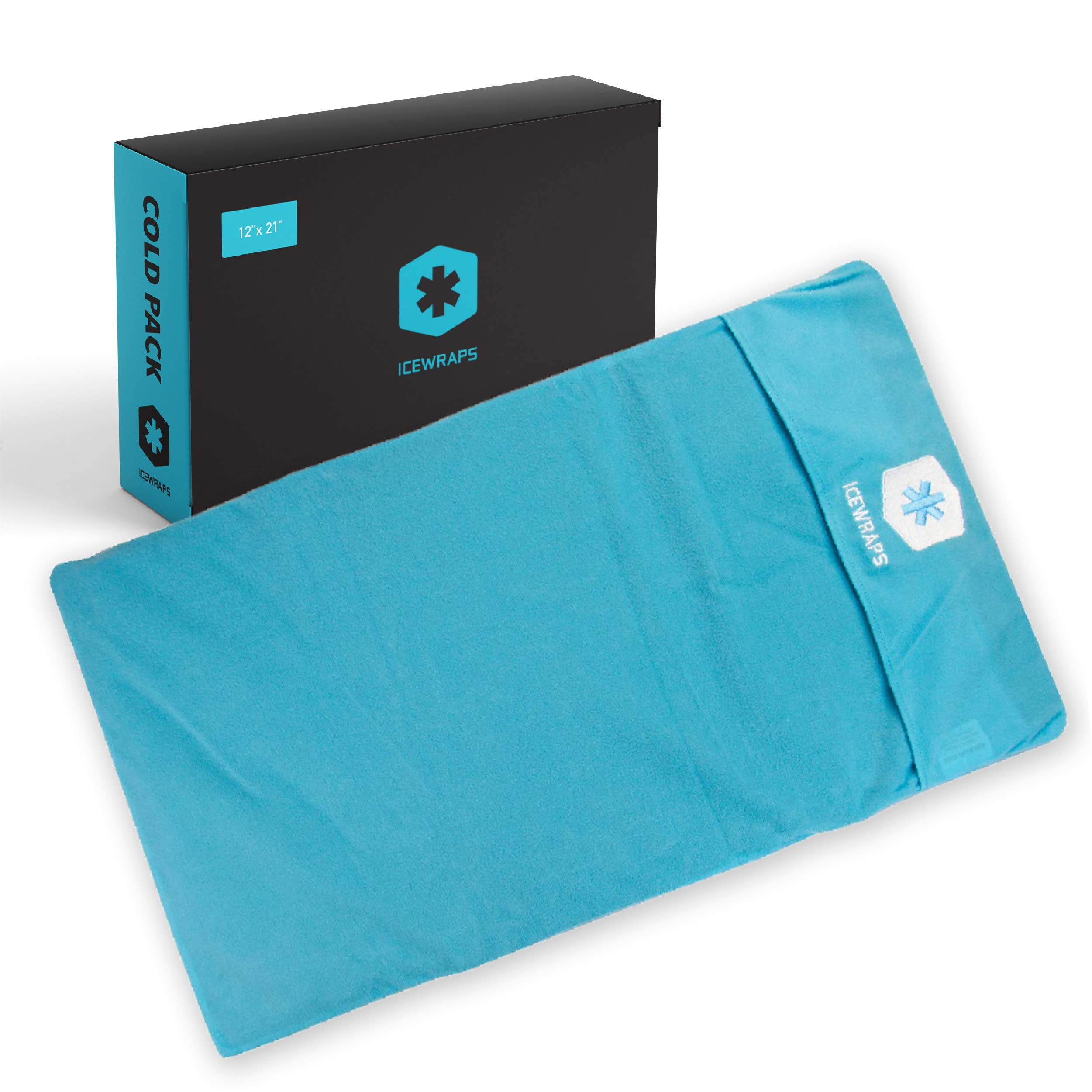 """ICEWRAPS Reusable Gel Ice Pack with Soft Fabric Cover 12""""x21"""" Large Cold Therapy Wrap for Back Injury, Hip or Knee Injuries, Muscle & Chronic Pain Relief 