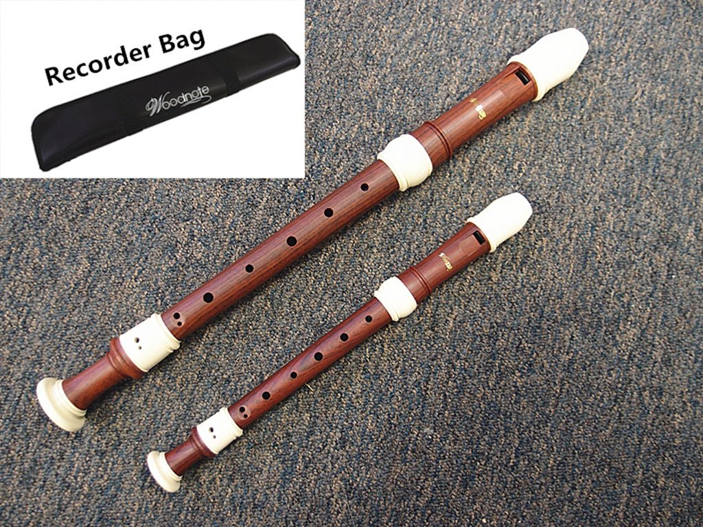 Set of 2 /Woodnote Wood Simulated with Ivory Color Alto & Soprano Recorders-Baroque Fingering - ABS Resin Plastic by Woodnote