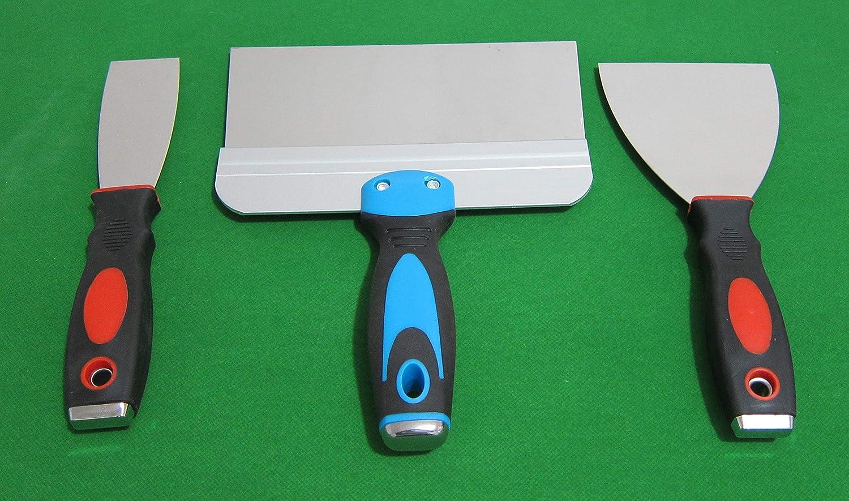 rascadores de cinta de calidad de 3,81-10,16-20,32 cm cuchillo de cinta ancha cuchillos de masilla flexibles Juego de 3 esp/átulas de acero inoxidable