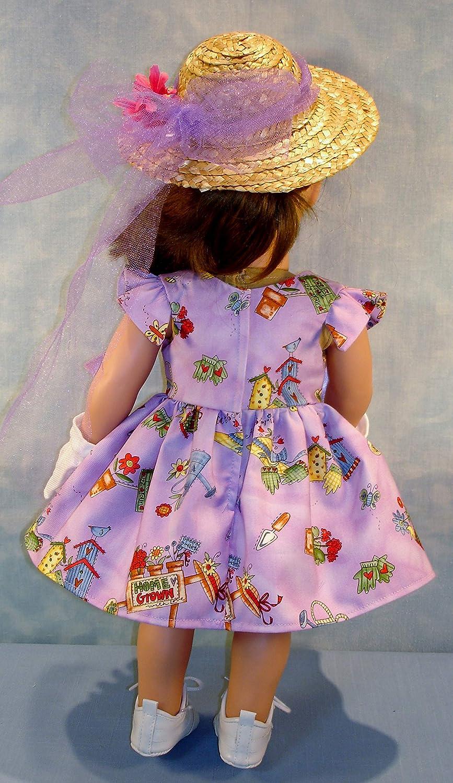 and Garden Gloves handmade by Jane Ellen 18 Inch Doll Clothes Garden Theme on Lavender Dress Hat
