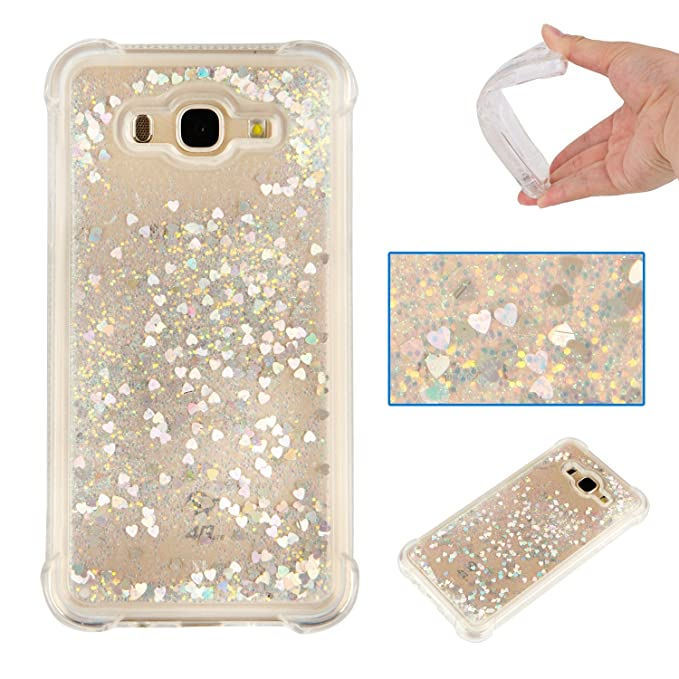 Galaxy J7 Case, AS-Zeke Liquid Bling Sparkle Design Crystal Clear Transparent Soft Flexible TPU Redouble Shockproof Full Protective Cover for Samsung ...