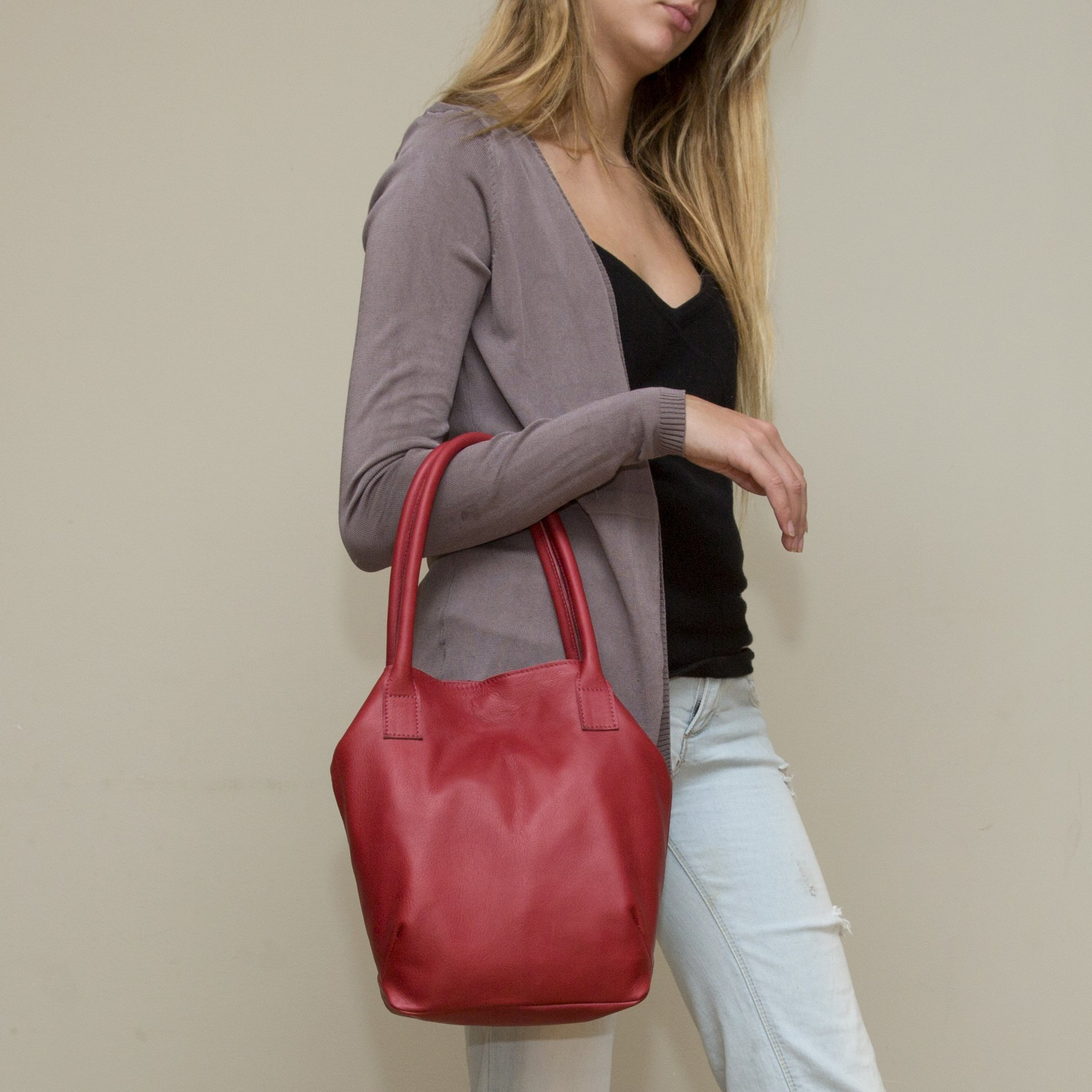Small handmade casual evening hand or shoulder bag red leather lightweight purse for woman