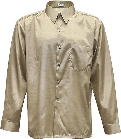 Hombres camisa de manga larga de seda tailandesa de oro ...