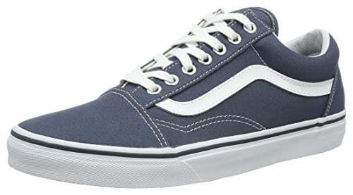 Destino almohada Adaptación  Buy Vans Unisex Old Skool (Canvas) Dark Slate and True White Sneakers - 4  UK/India (36.5 EU) at Amazon.in