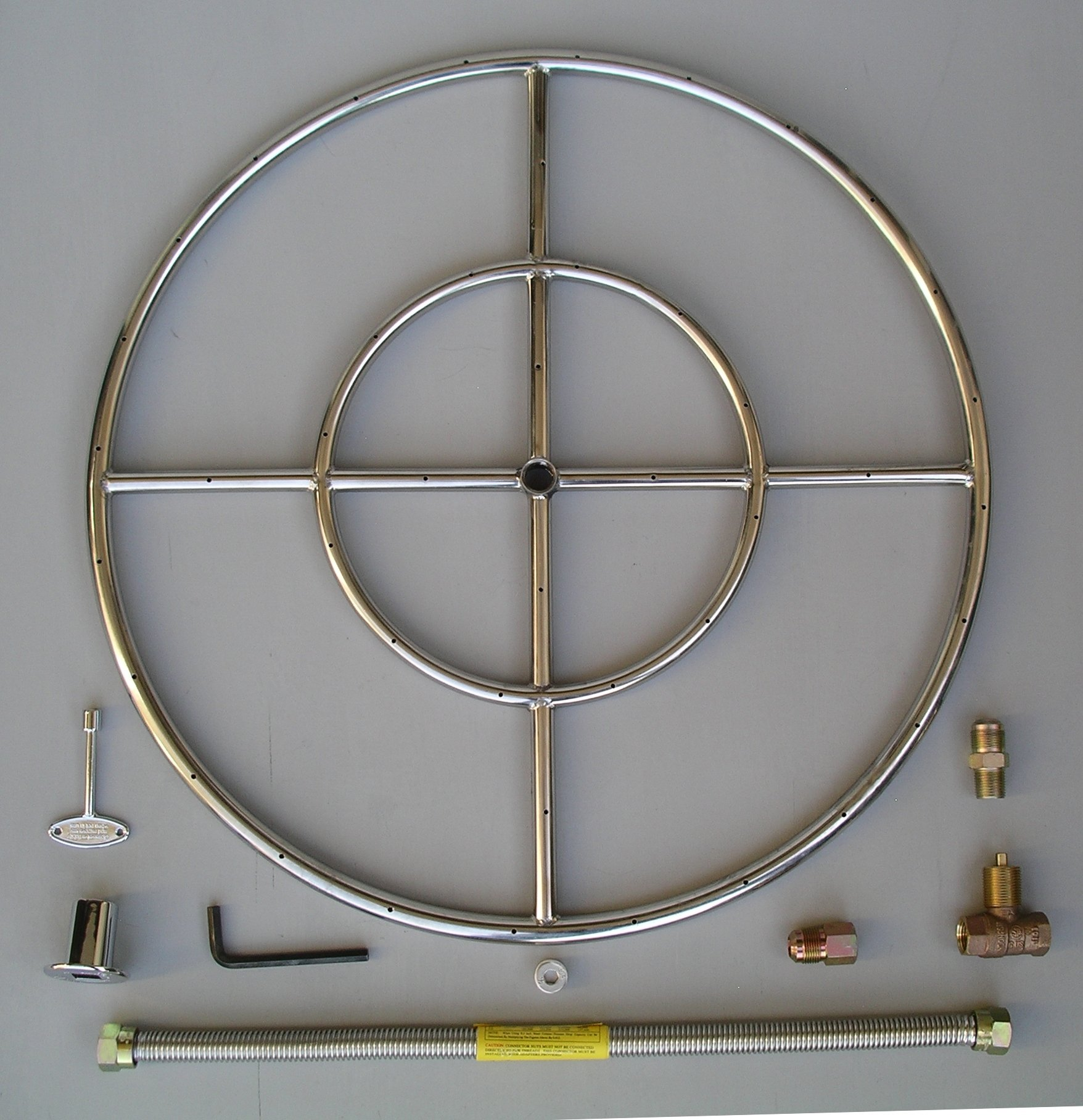 Fire Pit Ring, 24'' Diameter Stainless Steel Burner Ring Kit with Connectors by Fireplace Glass San Diego